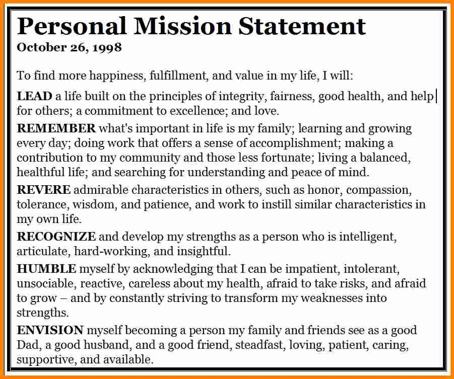 Personal Mission Statement Template Fresh 5 Personal Mission Statement Examples