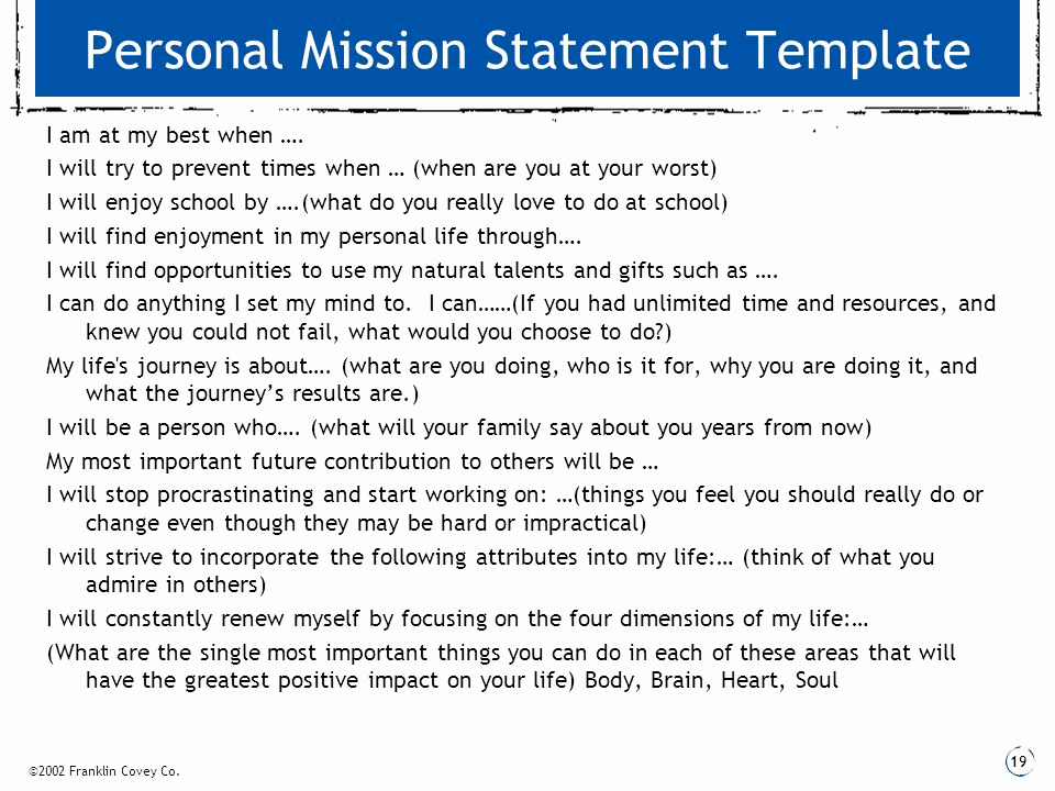 Personal Mission Statement Template Inspirational Wel E to Our Certified 7 Habits Classroom Ppt Video
