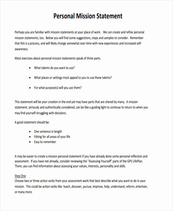 Personal Mission Statement Template Lovely 50 Statements Examples & Samples In Pdf