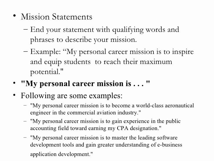 Personal Mission Statement Template Luxury Personal Mission Statements College Homework Help and