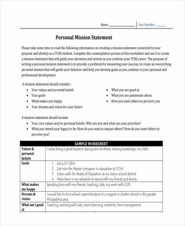Personal Mission Statement Template New 53 Mission Statement Examples & Samples Pdf Word