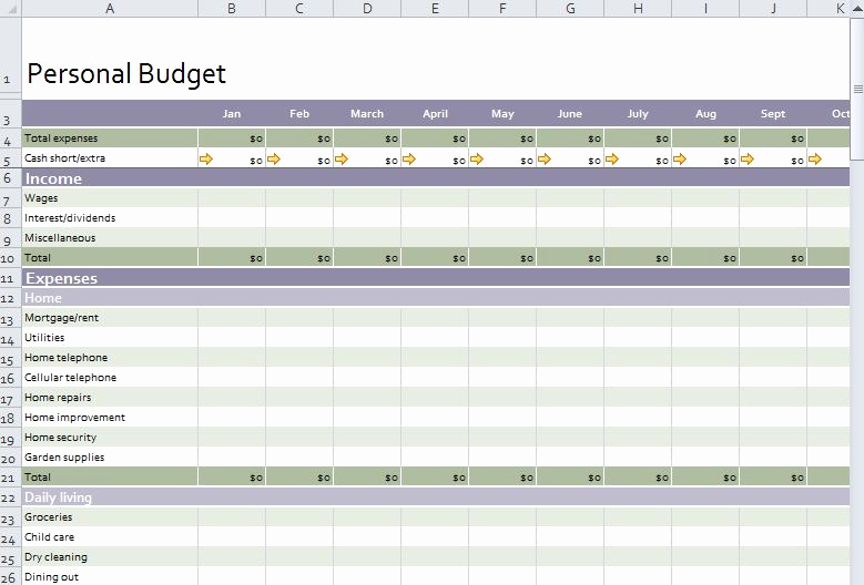 Personal Monthly Budget Template Awesome Personal Bud Template