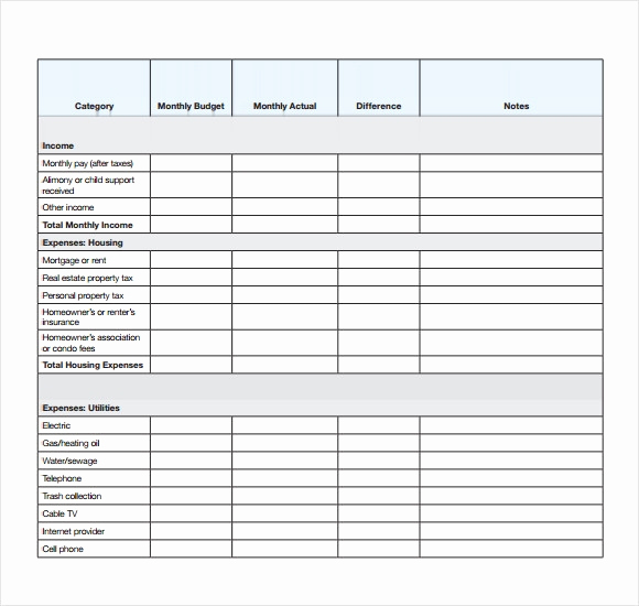 Personal Monthly Budget Template Inspirational Personal Bud Templates – 7 Free Samples Examples