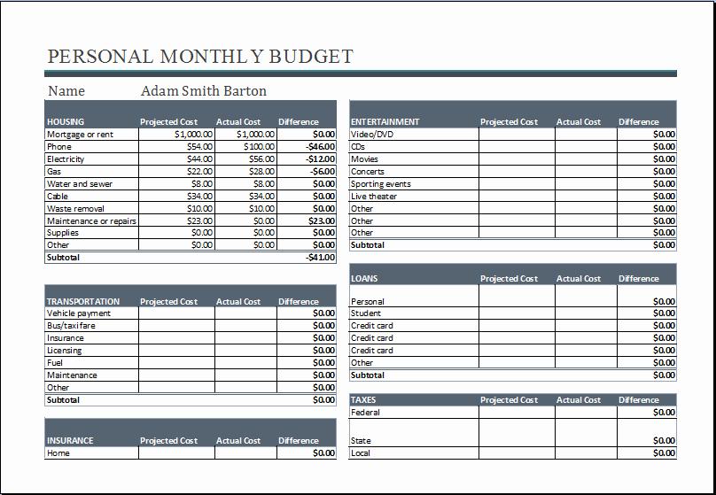 Personal Monthly Budget Template Luxury 20 Editable Worksheet Templates for Everyone S Use