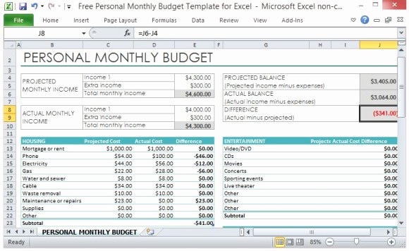 Personal Monthly Budget Template Luxury Free Personal Monthly Bud Template for Excel