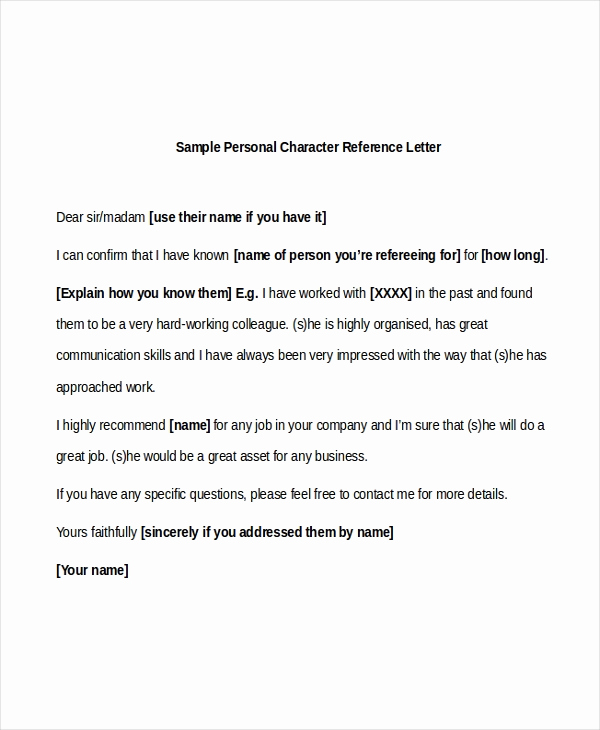 Personal Recommendation Letter Sample Beautiful Sample Character Reference Letters 8 Free Documents In