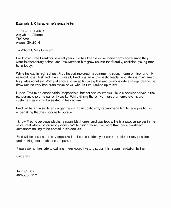 Personal Recommendation Letter Sample Beautiful Sample Personal Reference Letter 7 Documents In Pdf Word