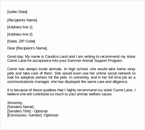 Personal Recommendation Letter Sample Inspirational 28 Letter Of Re Mendation In Word Samples