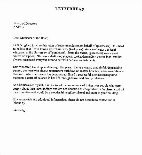 Personal Reference Letter Template Word Awesome 55 Re Mendation Letter Template Free Word Pdf formats