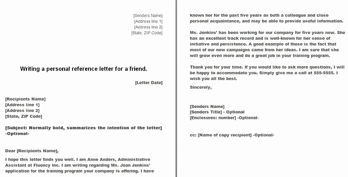 Personal Reference Letter Template Word Fresh Free Personal Character Reference Letter Templates Doc