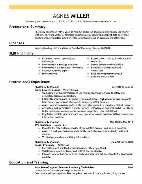 Pharmacy Tech Resume Samples Awesome Pharmacy Technician Resume Examples