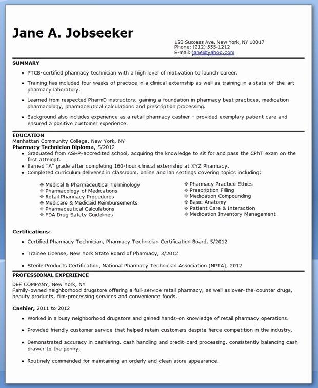 Pharmacy Tech Resume Samples Awesome Pharmacy Technician Resume Sample No Experience
