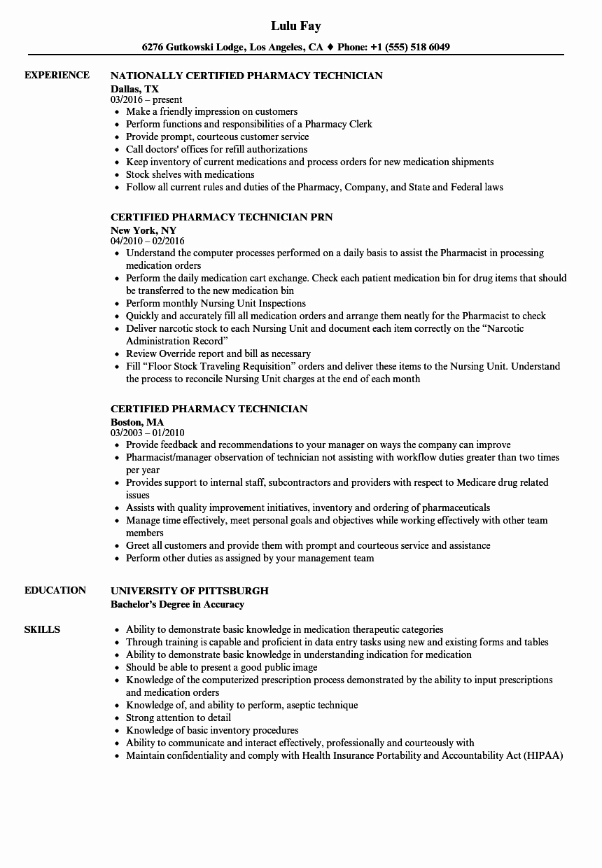 Pharmacy Tech Resume Samples Beautiful Certified Pharmacy Technician Resume Samples