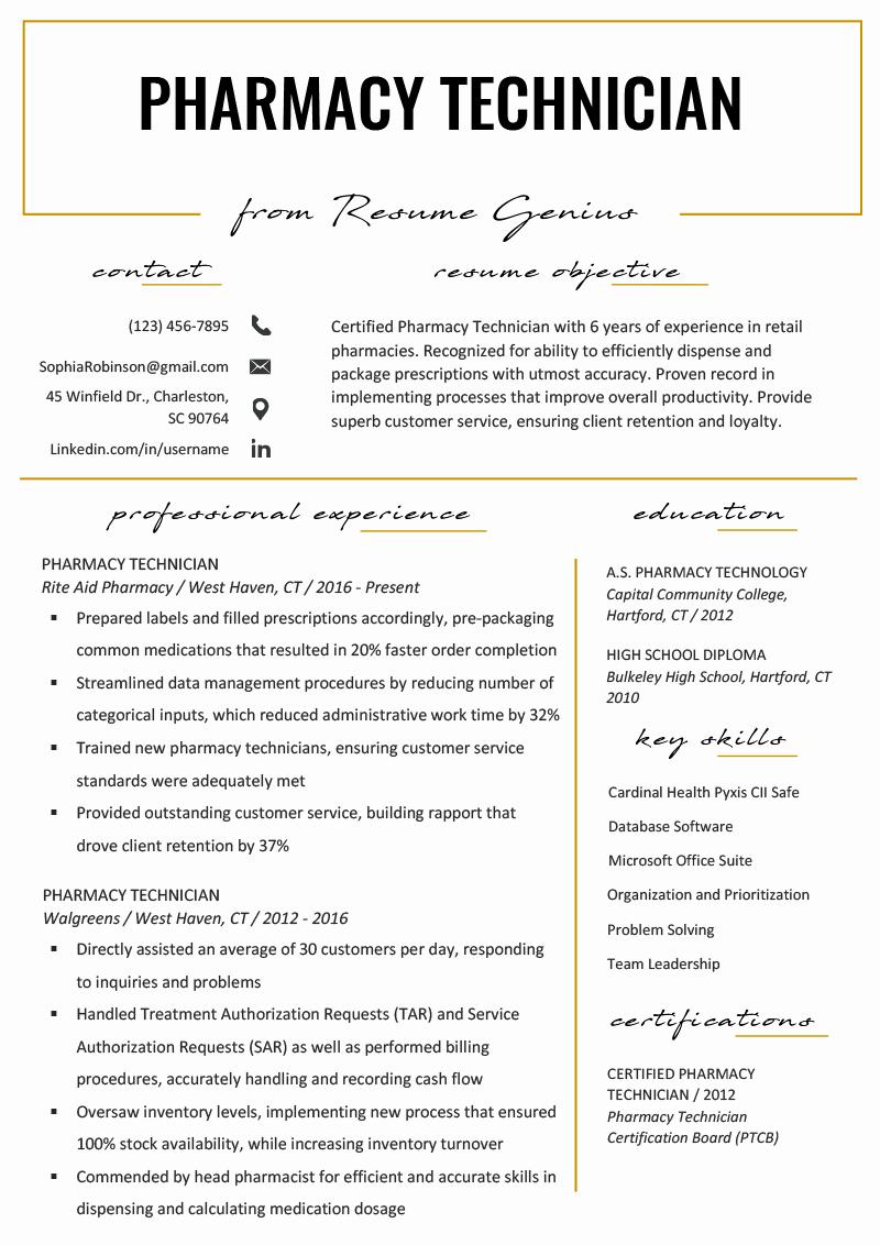Pharmacy Tech Resume Samples Best Of Pharmacy Technician Resume Example & Writing Tips