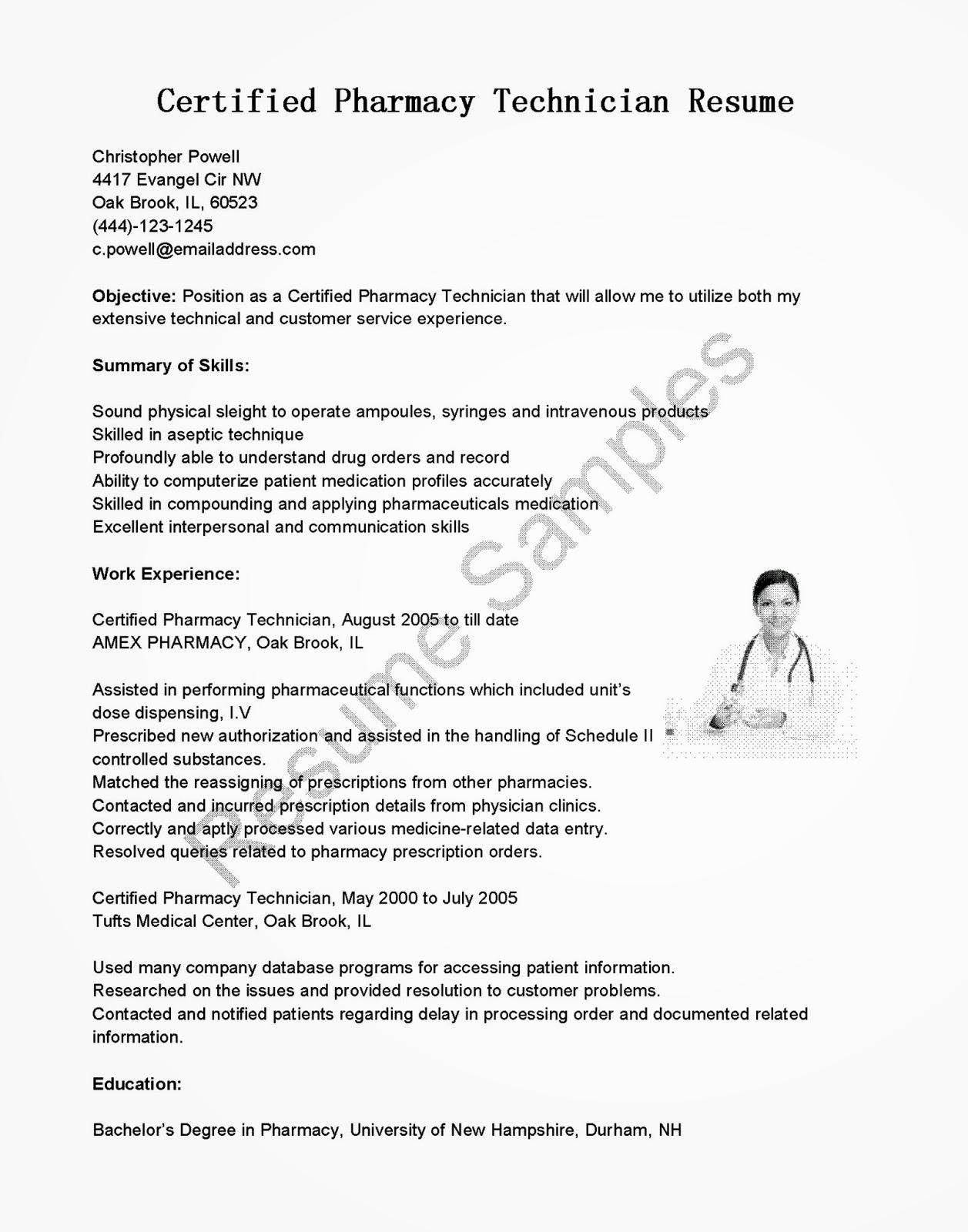 Pharmacy Tech Resume Samples Best Of Resume Samples Certified Pharmacy Technician Resume Sample