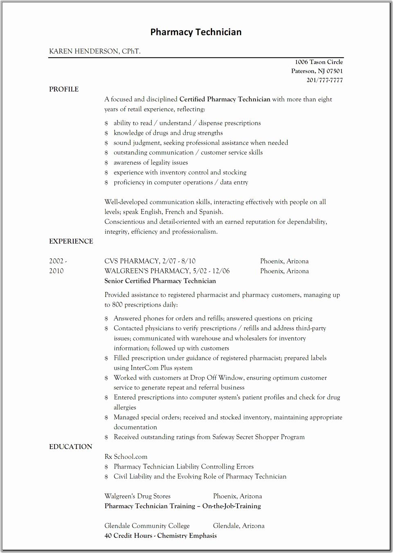 Pharmacy Tech Resume Samples Elegant Sample Resume for Pharmacy Technician