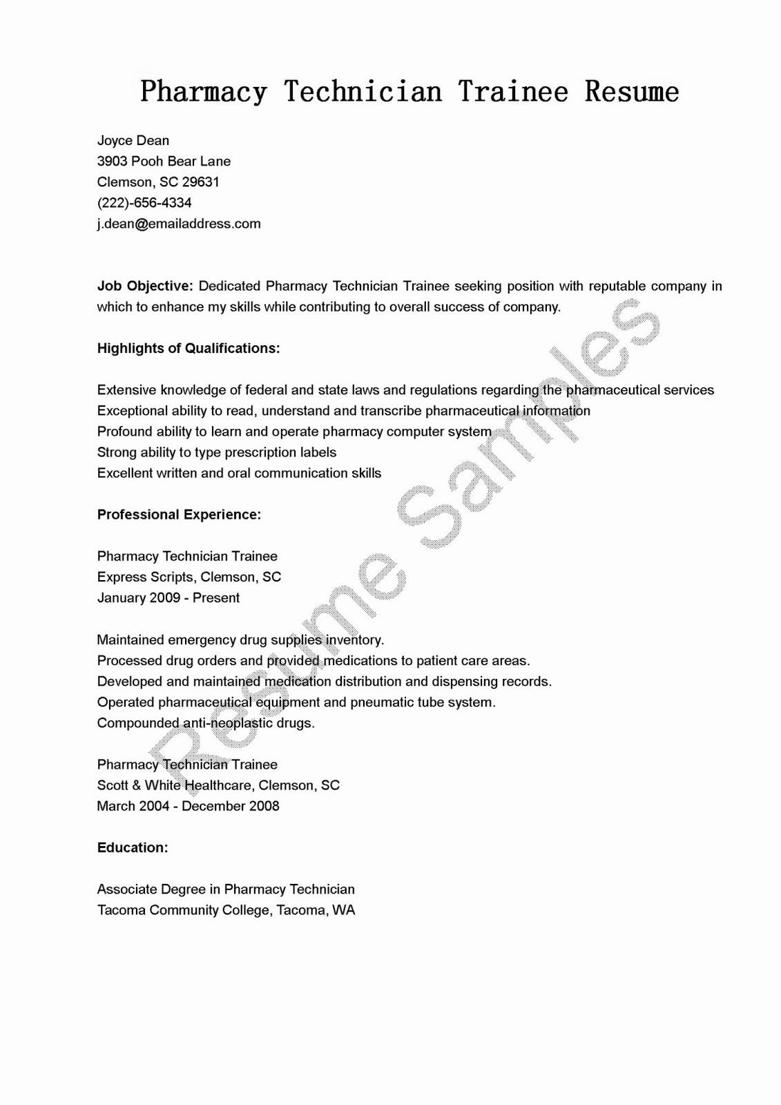 Pharmacy Tech Resume Samples New Resume Samples Pharmacy Technician Trainee Resume Sample