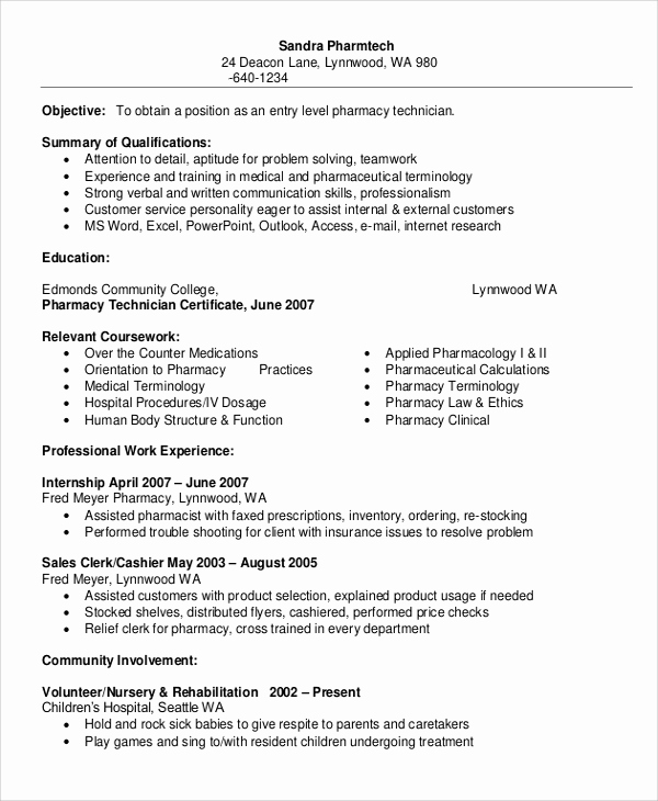 Pharmacy Tech Resume Samples Unique Sample Pharmacy Technician Resume 7 Examples In Word Pdf
