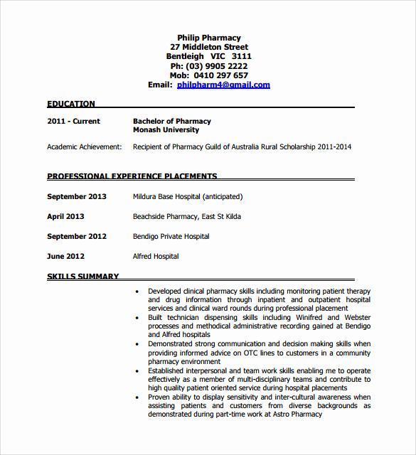 Pharmacy Technician Resume Sample Beautiful Sample Pharmacy Technician Resume 8 Free Documents In
