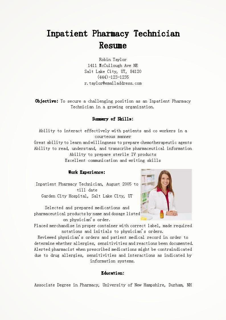 Pharmacy Technician Resume Sample Best Of Resume Samples Inpatient Pharmacy Technician Resume Sample