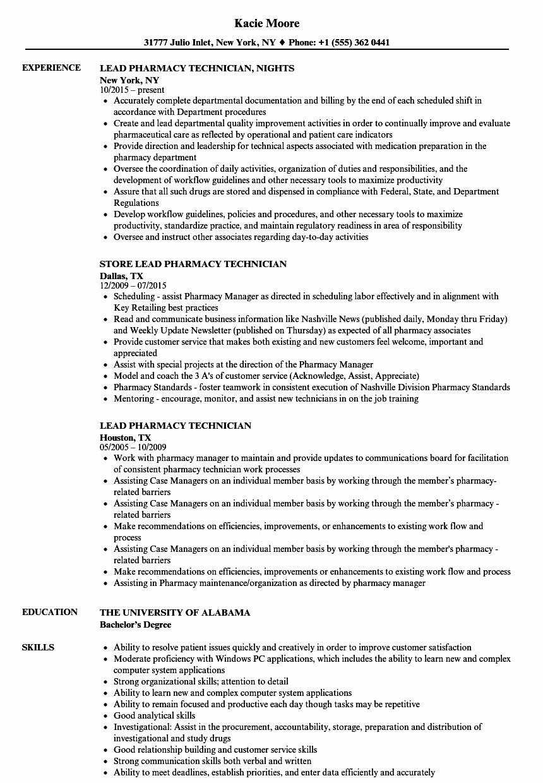 Pharmacy Technician Resume Sample Elegant Lead Pharmacy Technician Resume Samples