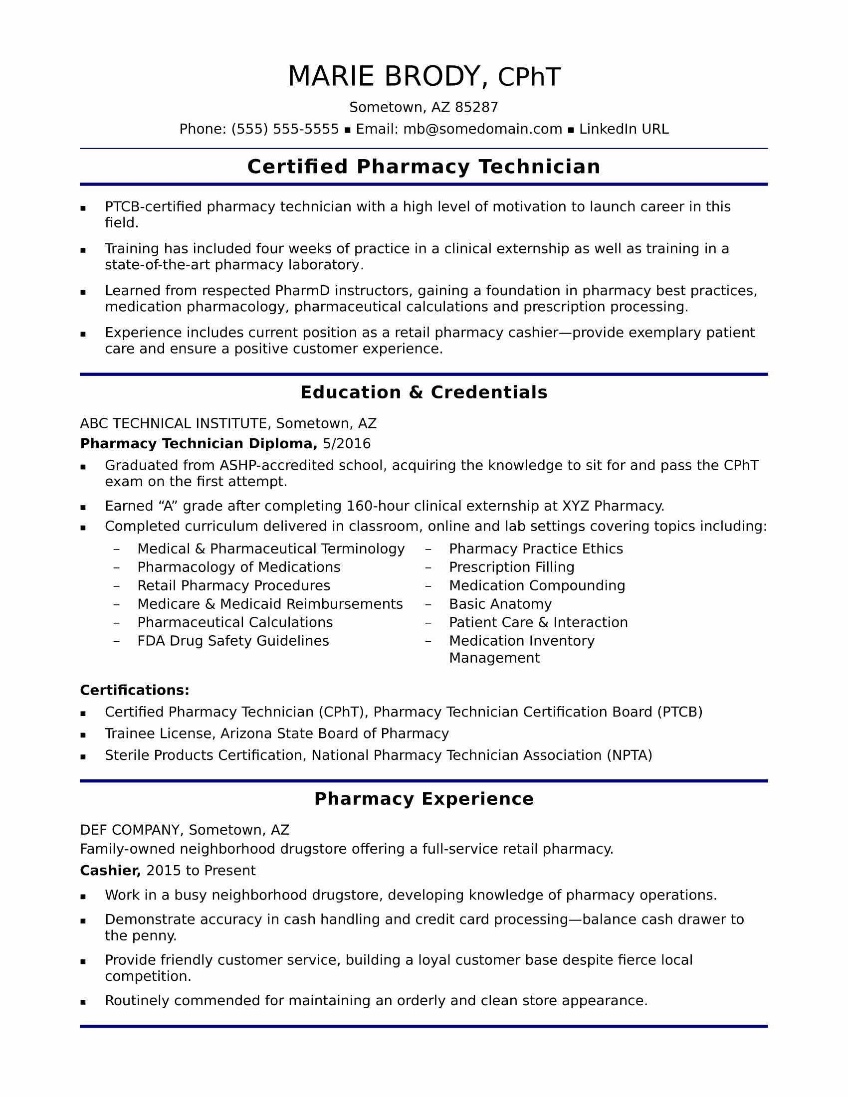Pharmacy Technician Resume Sample Fresh Entry Level Pharmacy Technician Resume Sample