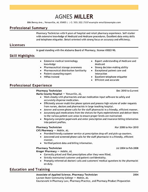 Pharmacy Technician Resume Sample Lovely Pharmacy Technician Resume Examples