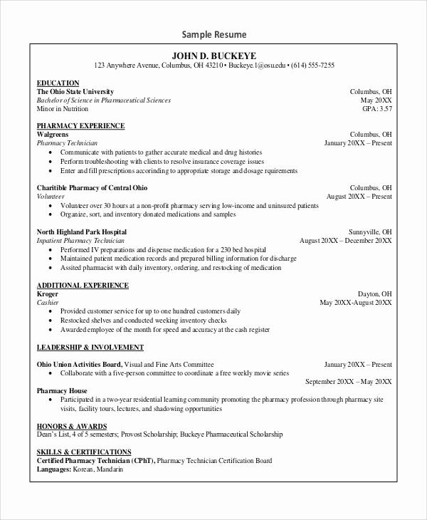 Pharmacy Technician Resume Sample Lovely Sample Pharmacy Technician Resume 7 Examples In Word Pdf