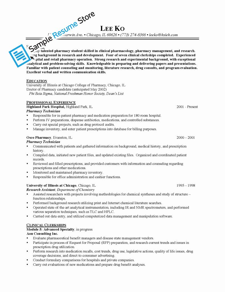 Pharmacy Technician Resume Sample Lovely Sample Resume for Pharmacy Technician