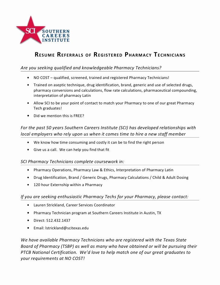 Pharmacy Technician Resume Sample Luxury Registered Pharmacy Technician Resume