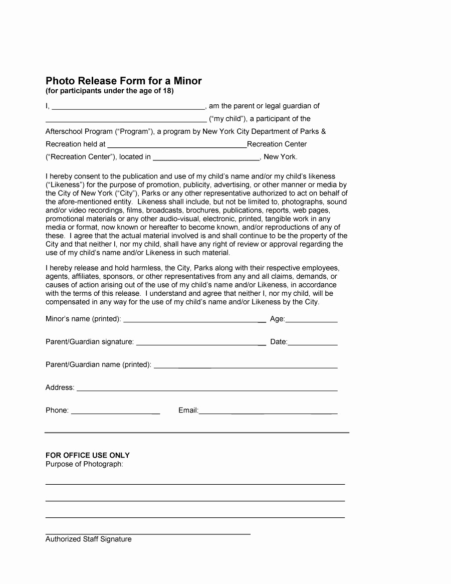 Photo Release form Pdf Unique 53 Free Release form Templates [word Pdf]