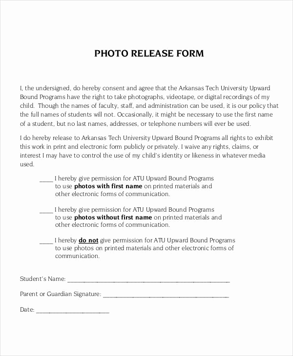 Photo Release form Pdf Unique Release form Template 9 Free Pdf Documents