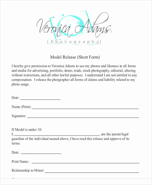 Photography Model Release form Awesome Sample Graphy Model Release form 7 Examples In