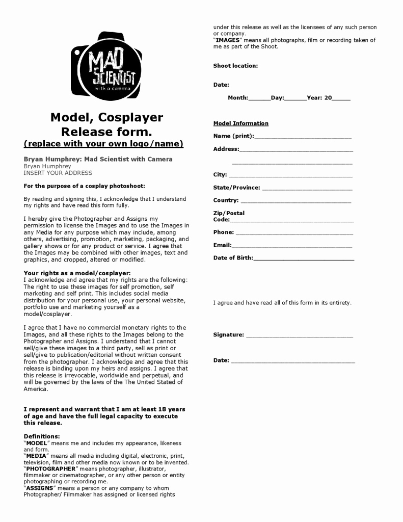 Photography Model Release form Elegant Model Release forms