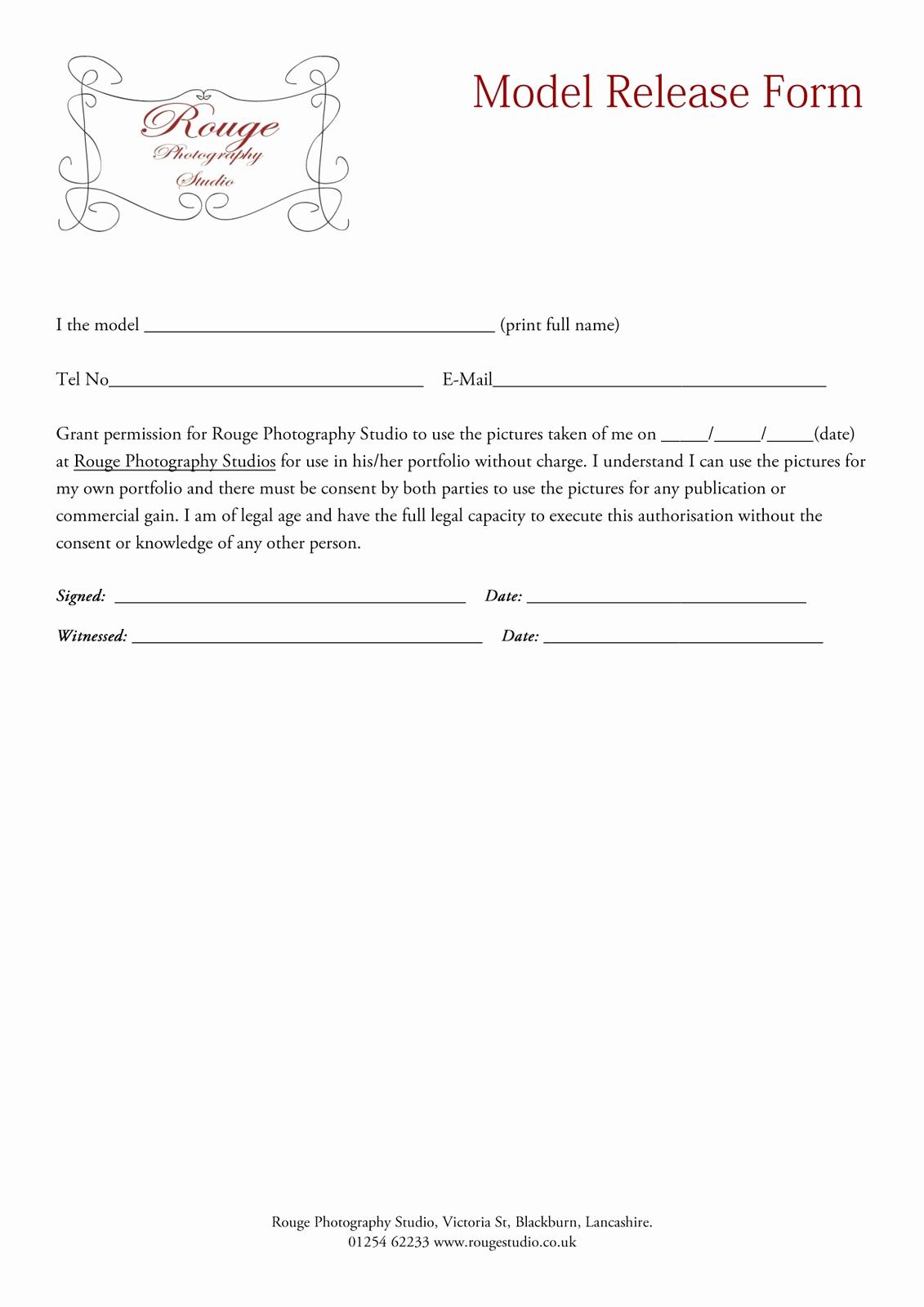 Photography Model Release form Elegant Rouge Model Release forms