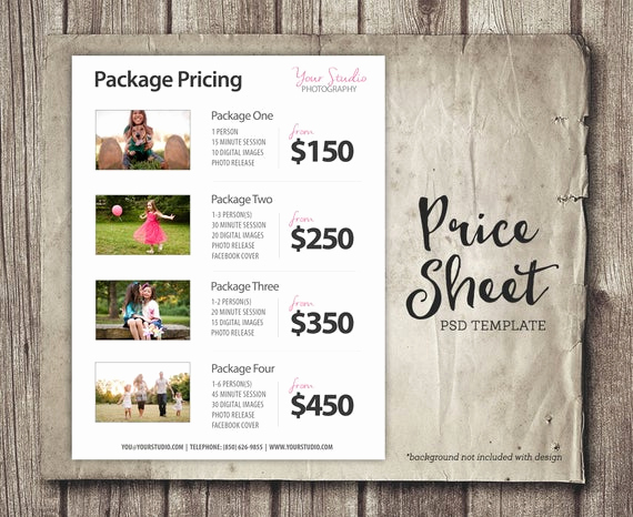 Photography Price List Template Awesome Price List Template Graphy Pricing List Sell