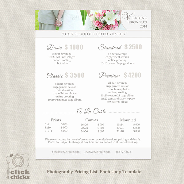 Photography Price List Template Awesome Wedding Graphy Package Pricing List Template