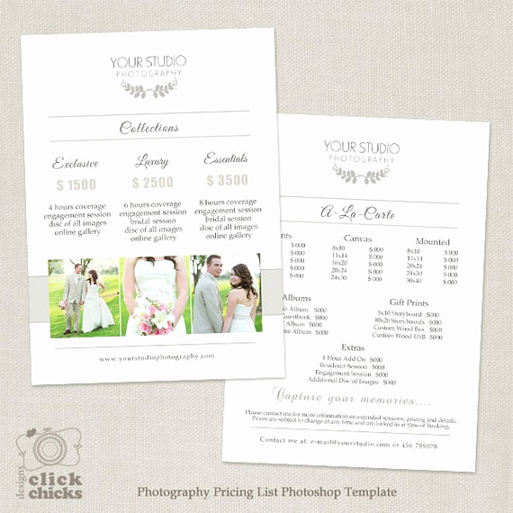 Photography Price List Template Beautiful Wedding Graphy Pricing List Template Graphy