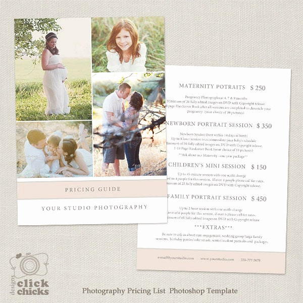 Photography Price List Template Best Of Graphy Package Pricing List Template Graphy