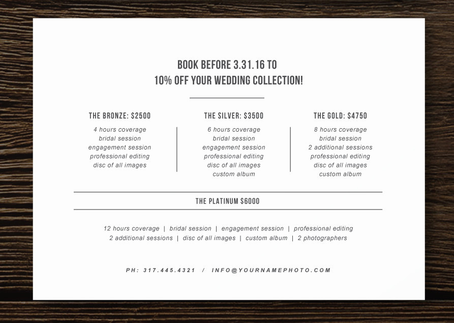 Photography Price List Template Best Of Pricing Guide Flyer Template for Graphers Wedding