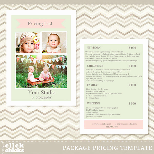 Photography Price List Template Elegant Graphy Package Pricing List Template Price List Price