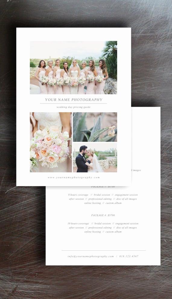 Photography Price List Template Elegant Wedding Graphy Price List Pricing Guide Template