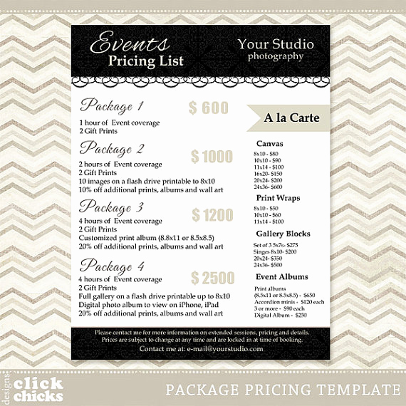 Photography Price List Template Inspirational Graphy Package Pricing List Template event Packages