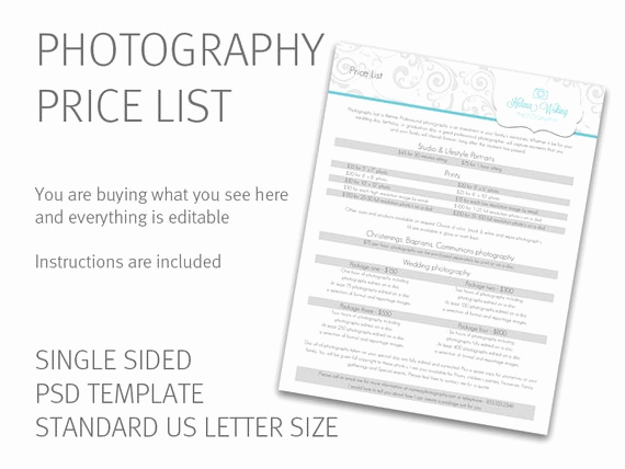 Photography Price List Template Lovely Graphy Price List Template Price Guide Photography