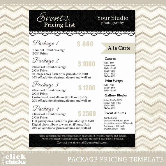 Photography Price List Template Unique Graphy Package Pricing List Template event Packages