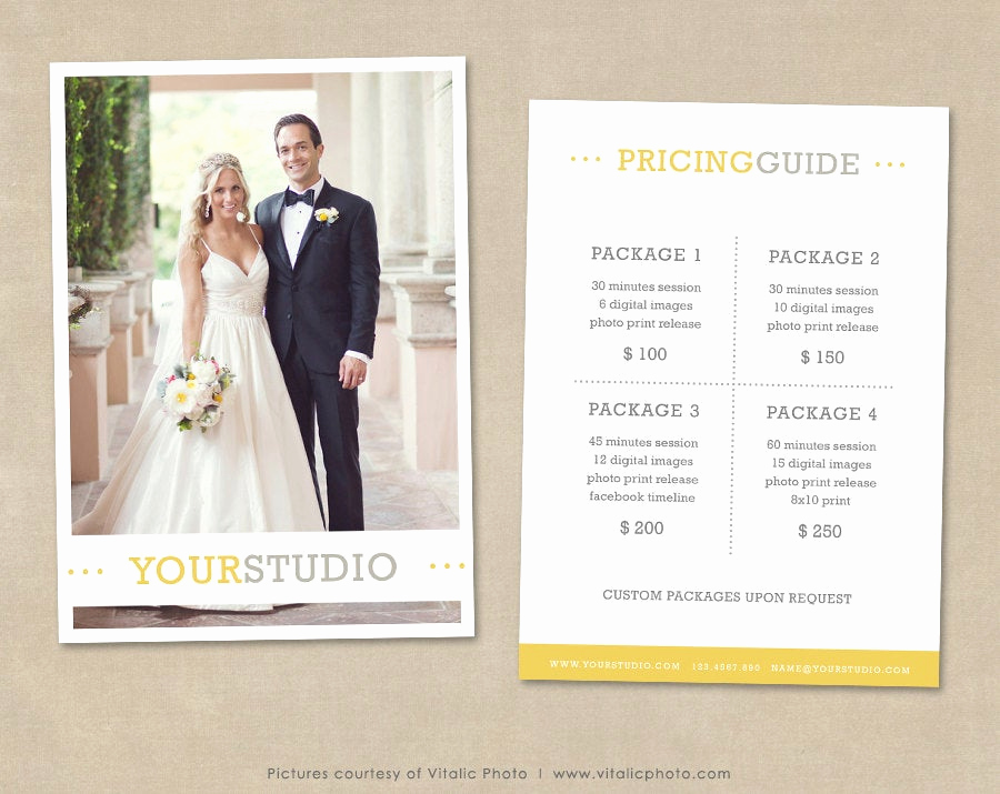 Photography Price List Template Unique Graphy Pricing Template Price List Wedding Pricing