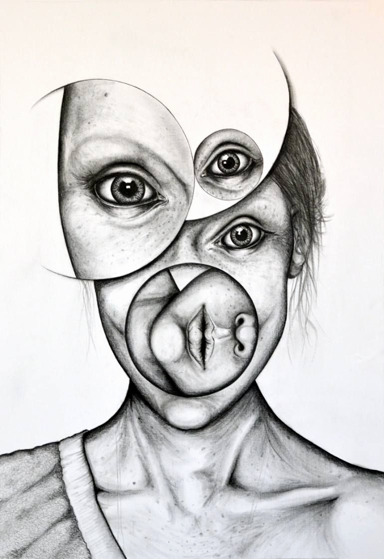 "Photos to Pencil Sketches Inspirational ""monochrome 1"" Surreal Portrait Drawing by andy butler"