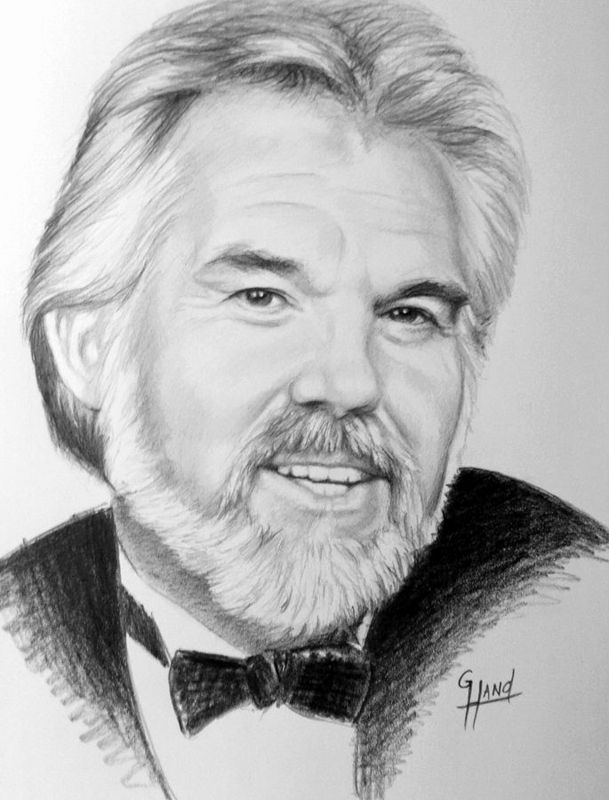 "Photos to Pencil Sketches Lovely Kenny Rogers 11""x 14"" Pencil Drawing by Greg Hand"