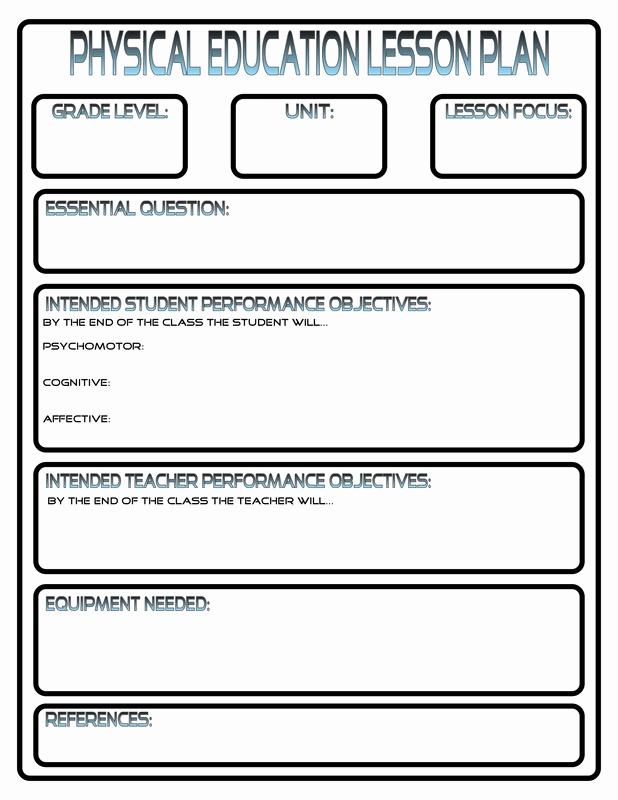 Phys Ed Lesson Plan Template Awesome Lesson Plans Phys Ed Review