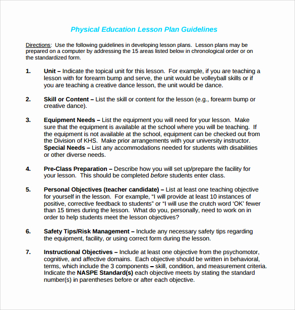 Phys Ed Lesson Plan Template Awesome Sample Physical Education Lesson Plan 14 Examples In